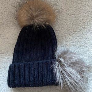 Belle Fare Hat Two Detachable Real Fur Pom Poms